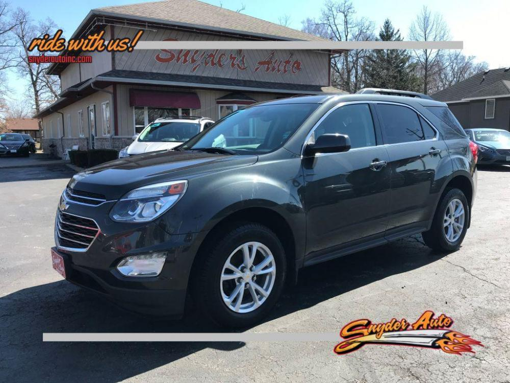2017 GRAY /Jet Black CHEVROLET EQUINOX LT (2GNALCEKXH1) with an 2.4L engine, Automatic transmission, located at 101 S. Halleck St., DeMotte, IN, 46310, (219) 987-2922, 41.202343, -87.198189 - Photo #0